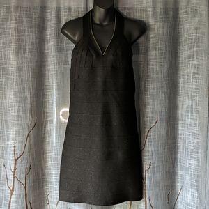 All Saints Mai Black Sparkly Bandage Mini Dress